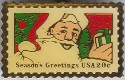USA 20c Season's Greetings Postage Stamp Pin